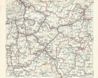 1950 Road Map Of Switzerland Luzern Area Antique Map Vintage Wall Decor