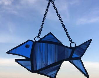 Hand Made Stained Glass Fish In The Sea/Shark SunCatcher Gift