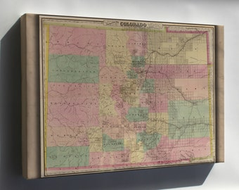 Canvas 24x36; Colton'S Map Of The State Of Colorado 1878