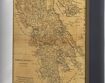 Canvas 24x36; Map Of Ancient Greece C1814 By M'Dermut