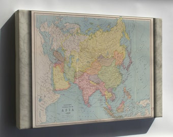 Canvas 24x36; Map Of Asia; China India Russia Japan 1940