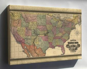 Canvas 24x36; Map Of Atchison Topeka & Santa Fe Railroad 1888