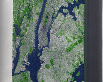 Canvas 24x36; New York City Satellite Image Showing The Core Of The New York Metropolitan Area