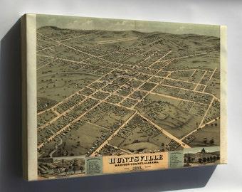 Canvas 24x36; Huntsville Al Usa 1871 Birds Eye View