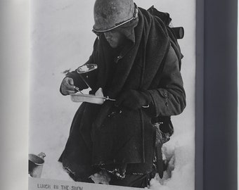 Canvas 24x36; American G.I. 26Th Division Has His Lunch In The Snow Wwii