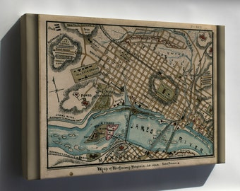 Canvas 24x36; Map Of Richmond, Virginia 1863