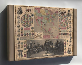 Canvas 16x24; Map Of The United States, Canada, Mexico, West Indies And Central America 1859