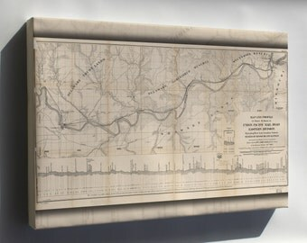 Canvas 16x24; Map Of Union Pacific Railroad East Division 1865