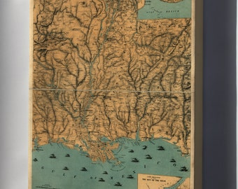 Canvas 16x24; Map Of Mississippi River Valley Louisiana 1861