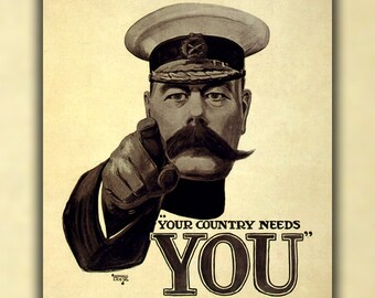 16x24 Poster; Lord Kitchener Poster, For British Army Recruiting During World War I (1914)