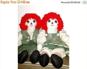 """Vintage Raggedy Ann and Andy Rag Dolls,LARGE, 24"""" Tall,Handmade Rag Dolls,Raggedy Ann,Raggedy Andy,OOAK,Raggedy Ann Doll,Vintage,Cloth Doll"""
