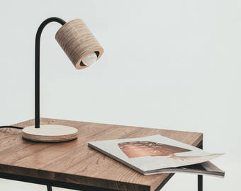 C-light table. Simple table lamp made of plywood and metal