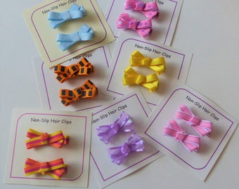 Hair Clips - Non Slip Grip - Choose 2 - Hair Clip Set - Hair Bows - Little Girl Hair Accessory - Barrettes - Multicolored