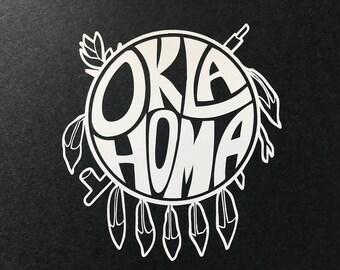 "5"" Oklahoma Shield cut vinyl decal - WHITE"