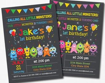 Monster birthday invitation, !st birthday, Monster invite, Boy, Girl, pink, blue,printable