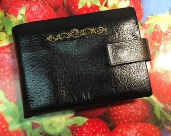 Buxton convertable black leather womens vintage wallet