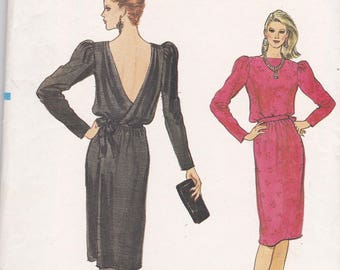 Vogue 8540 Vintage Pattern Womens Back Wrap Dress Size 8