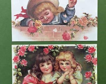Victorian Children Roses New Postcard Set of 2