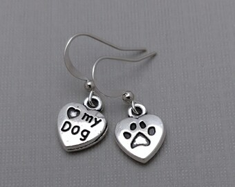 Paw Print Heart Earrings, Silver Heart, Paw Print Charm, Pet Jewelry, Dog Earrings, Love My Dog Earrings, Heart Jewelry, Tiny Heart Earrings