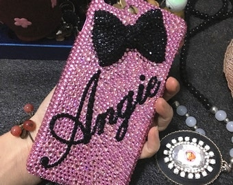 Cursive Letter Pink Bling Personalized Diy Name Words Luxury Lovely Bow Fashion Sparkles Crystals Rhinestones Diamonds Case for Mobile Phone