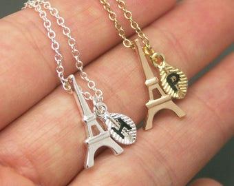 Eiffel Tower Necklace, Eiffel necklace, Personalized Initial Necklace, Eiffel Tower Charm necklace, Eiffel Jewelry, Paris jewelry NB631