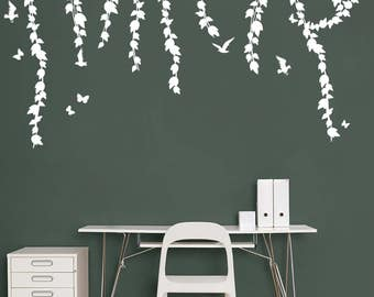 Hanging Vines Wall Decal - Birds and Butterflies Decal - Birds Decal - Butterflies Decal - Vines Wall Decal - Vinyl Wall Decal Branch Decal