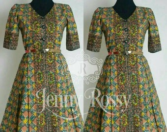 JOYCE African print Midi fashionable Dress Classic Ankara Style wax Dress