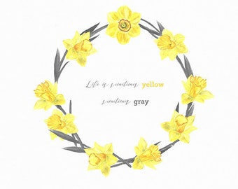 Calligraphy yellow daffodil print quote