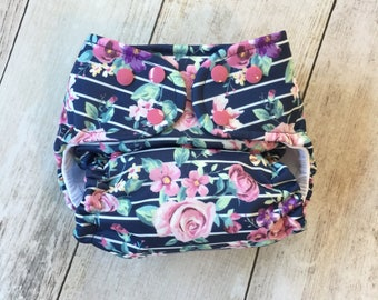 Cloth Diaper *One size or Newborn* All in two, Pocket, or Cover **Floral Stripes**