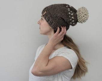 Two Tone Slouchy Knit Hat with Pom Pom