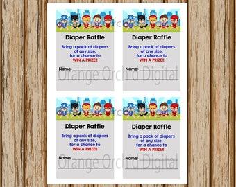 INSTANT DOWNLOAD- Superhero Diaper Raffle Tickets- Superhero Baby Shower Diaper Raffle Tickets- Superhero Baby Shower- 8.5 x 11 size-Digital
