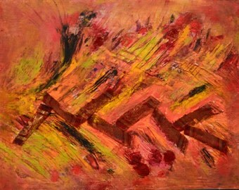 Energy Abstract Art Piece: Beeswax, dry pigments oil painting on a gallery style wooden panel ready for display