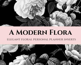 Printable Personal Planner Inserts (Black & White Floral) - 6 customizable layouts for Filofax, Kikki K, Dokibook, Wellesley