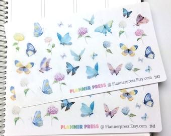 Butterfly & Hydrangea Stickers - Fits Erin Condren, KikkiK, Filofax Planners and Midori Notebooks 2142