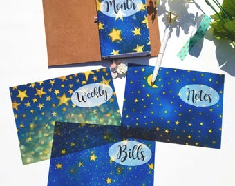 Acetate Nightly Stars Planner Dashboards For TN's and Midori Travelers Notebook A125