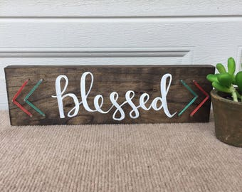 READY TO SHIP- Blessed: Hand-painted Calligraphy String Art Sign