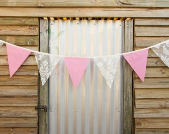 Handmade Bunting - Lolly Pink Cotton & Lace 2m length