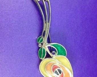 Vintage Art Nouveau Revival Brooch, Rennie Macintosh Style Brooch, Silver Flower Enamel Brooch, Vintage Gift