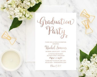 Rose Gold Graduation Party Invitation, Printable Graduation Invitation, Graduation Celebration Invitation, Faux Rose Gold Foil Grad Invite