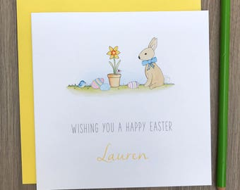 Handmade Personalised Easter Card - Bunny easter card - personalised happy easter card