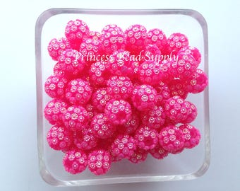 12mm Hot Pink Flower Rhinestone Beads Set of 10, 20 or 50,  12mm Rhinestone Beads, Chunky Bubble Gum Beads, Gumball Beads, Acrylic Beads
