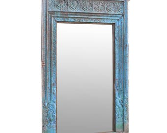 Turquoise Wall Mirror turquoise spindle mirror blue mirror wall mirror antique