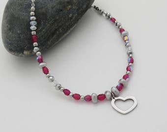 Girl charm heart stainless steel, glass marble necklace pink fushia, silver faceted glass beads, glass Pearl gray Czech