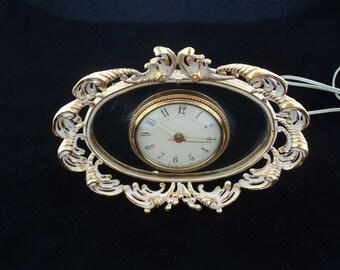 Vintage Ornate Mid Century Hollywood Regency Mirrored Alarm Clock