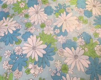 Cannon Monticello Blue Green White Daisy Mod Flowers Floral Muslin Full Flat Sheet