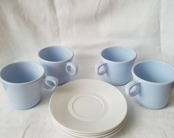 Vintage Blue Coffee Cups and Saucer Plates