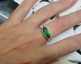 SALE! Statement emerald ring,marquis ring,gold ring,may birthstone,engagement ring,diamond ring,bridal gift