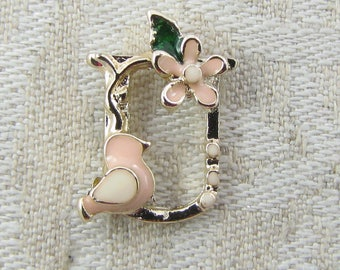 """Gold and Enamel Floral Letter """"U"""" Charm, 1 or 5 letters per package  ALF024u"""