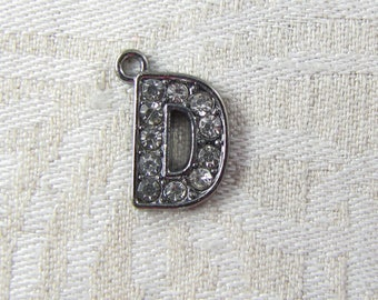 """Gunmetal Rhinestone Letter """"D"""" Charm 1 or 5 letters per package ALF022d-GM"""