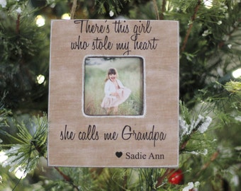 Grandpa Ornament from Granddaughter 'Girl Who Stole My Heart' Quote Personalized Christmas Ornament GIFT Grandfather